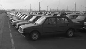 VW-Werk Wolfsburg- Fahrzeuge der Typen Golf und Jetta auf Halde. 16.-17.03.1981
